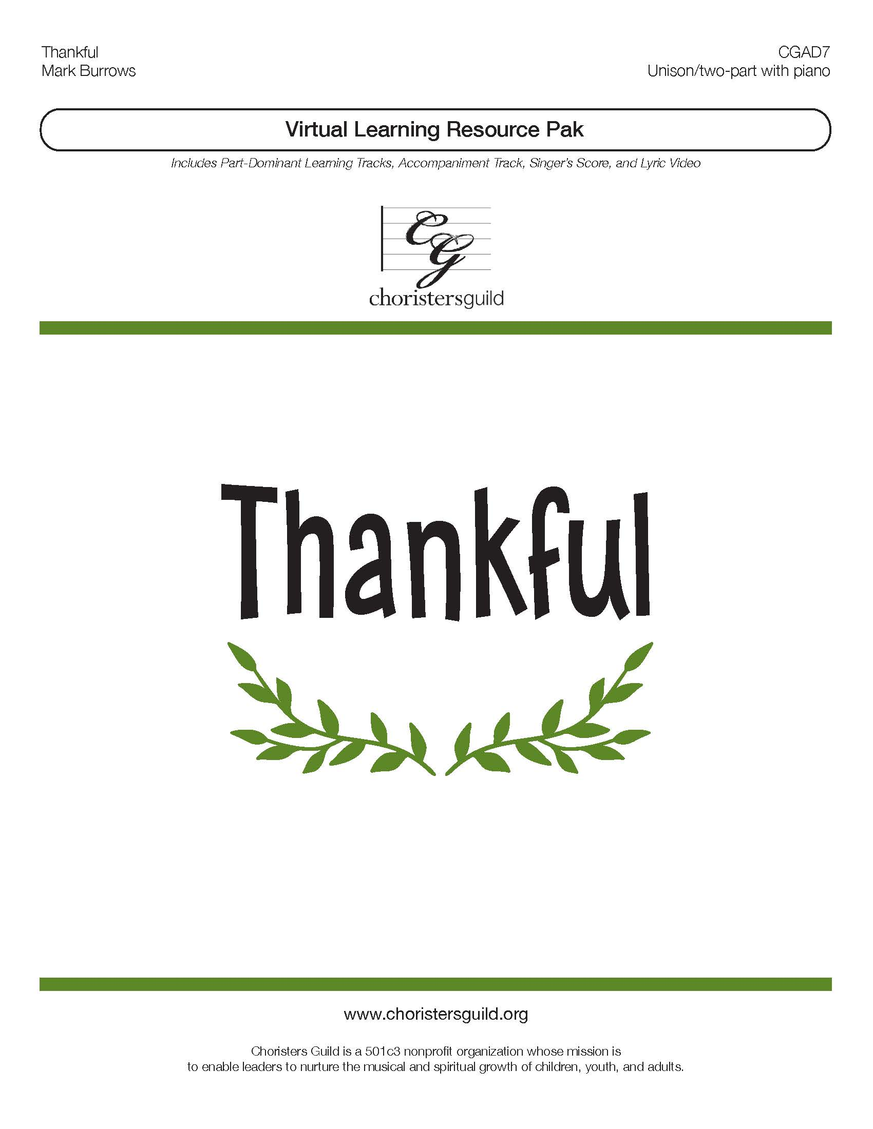 Thankful (Virtual Learning Resource Pak) - Two-part