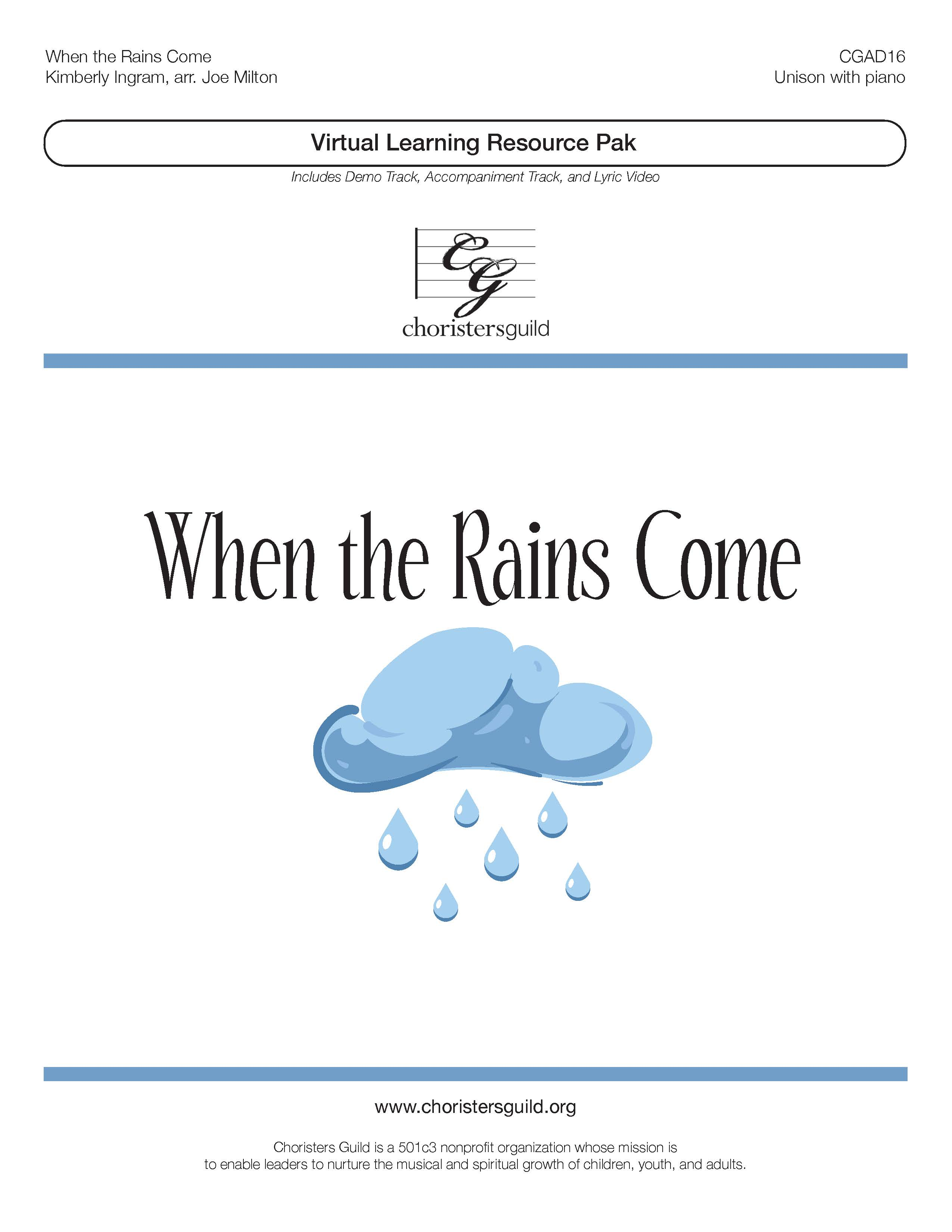 When the Rains Come (Virtual Learning Resource Pak) - Unison