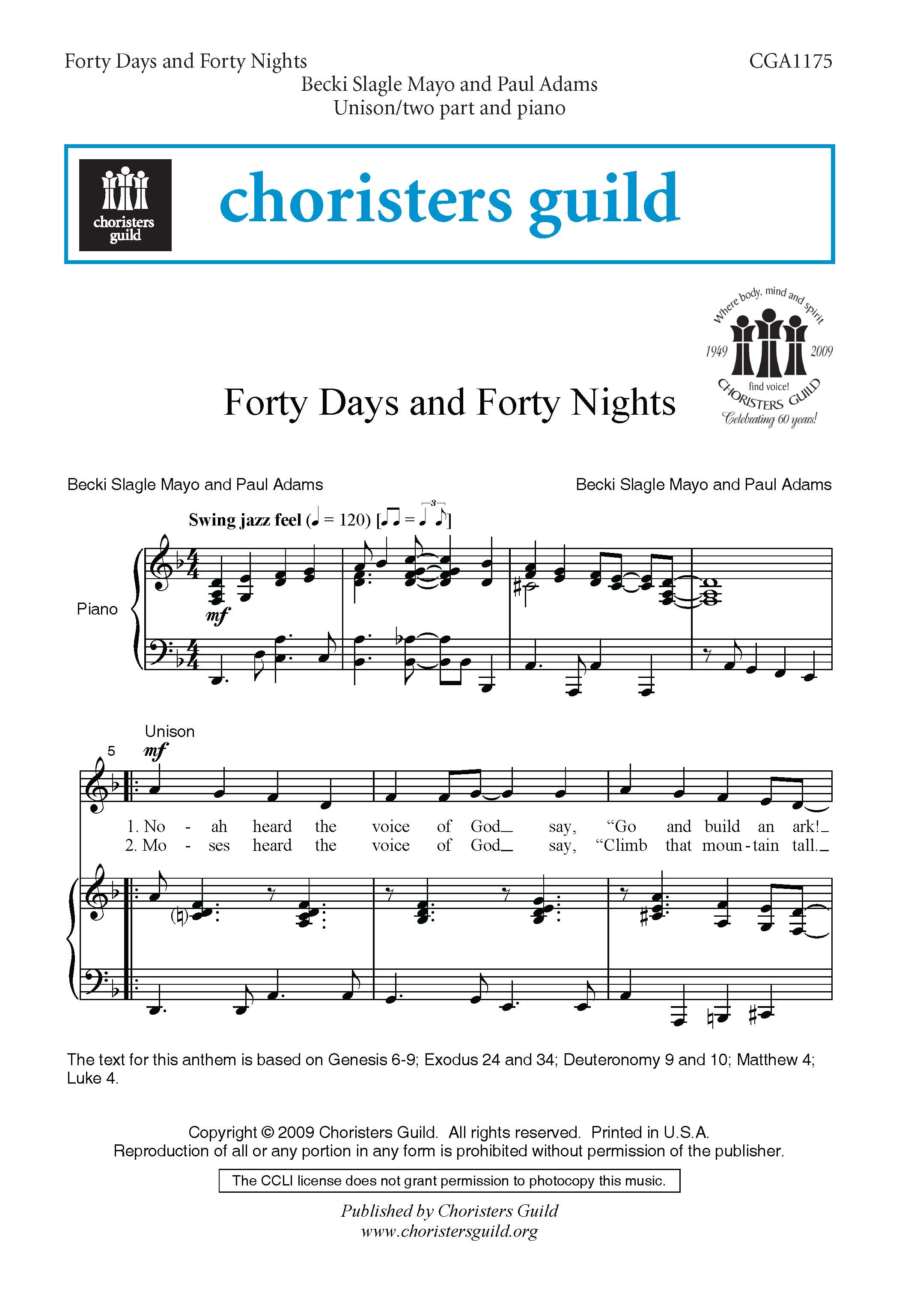 Forty Days and Forty Nights Accompaniment Track
