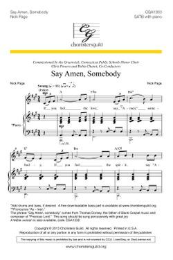 Say Amen, Somebody (SATB) Accompaniment Track
