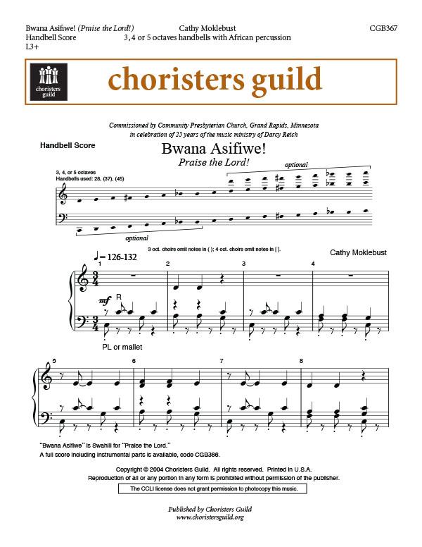 Bwana Asifiwe (Praise the Lord) (Handbell Score)