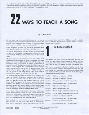 22 Ways to Teach a Song Book