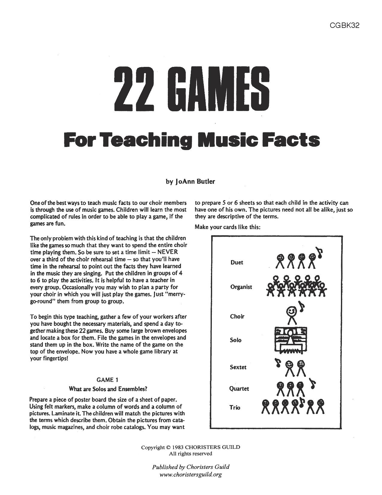 22 Games for Teaching Music Facts Book