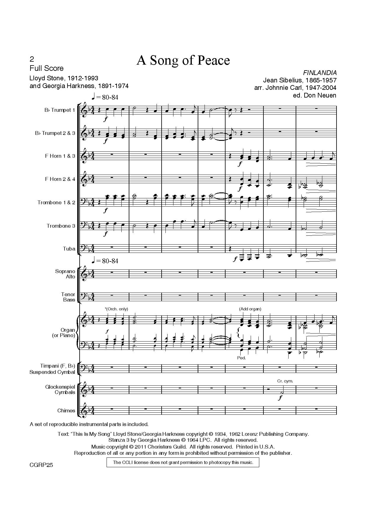 A Song of Peace Brass and Percussion Score and Parts