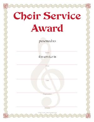 Choir Service Award Certificate