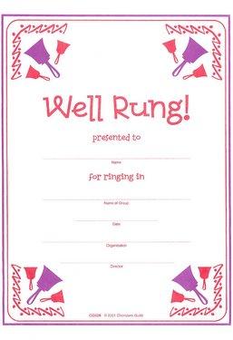 Well Rung Handbell Certificate