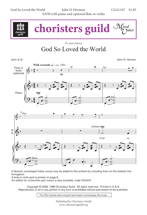 God So Loved the World SATB