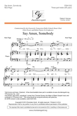 Say Amen, Somebody (treble)