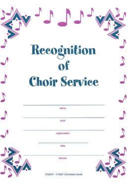 Recognition of Choir Service Certificate