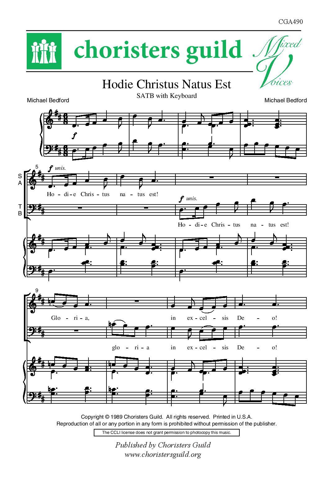 Hodie Christus Natus Est SATB