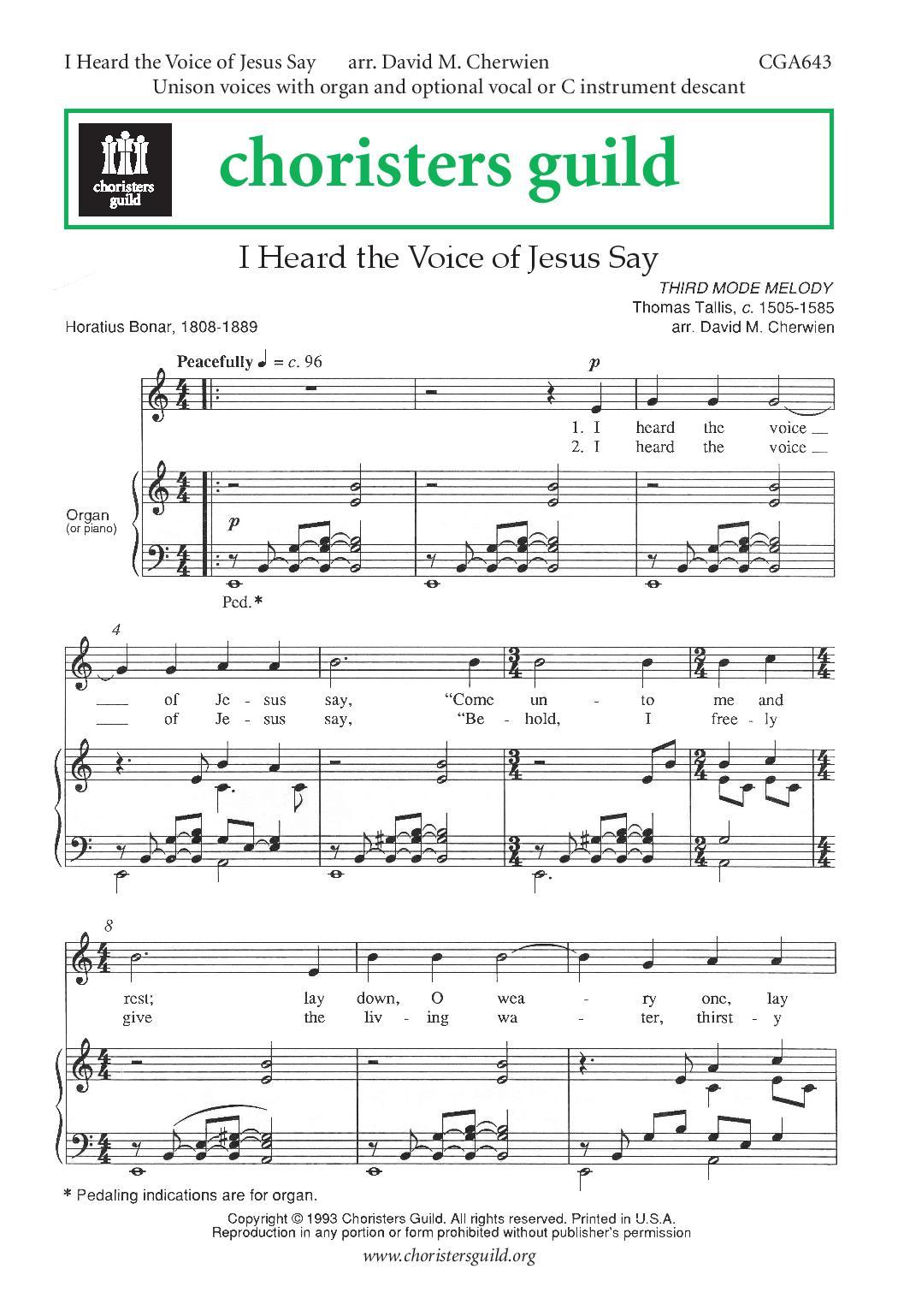 I Heard the Voice of Jesus Say