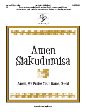 Amen Siakudumisa  - 2 or 3 octaves