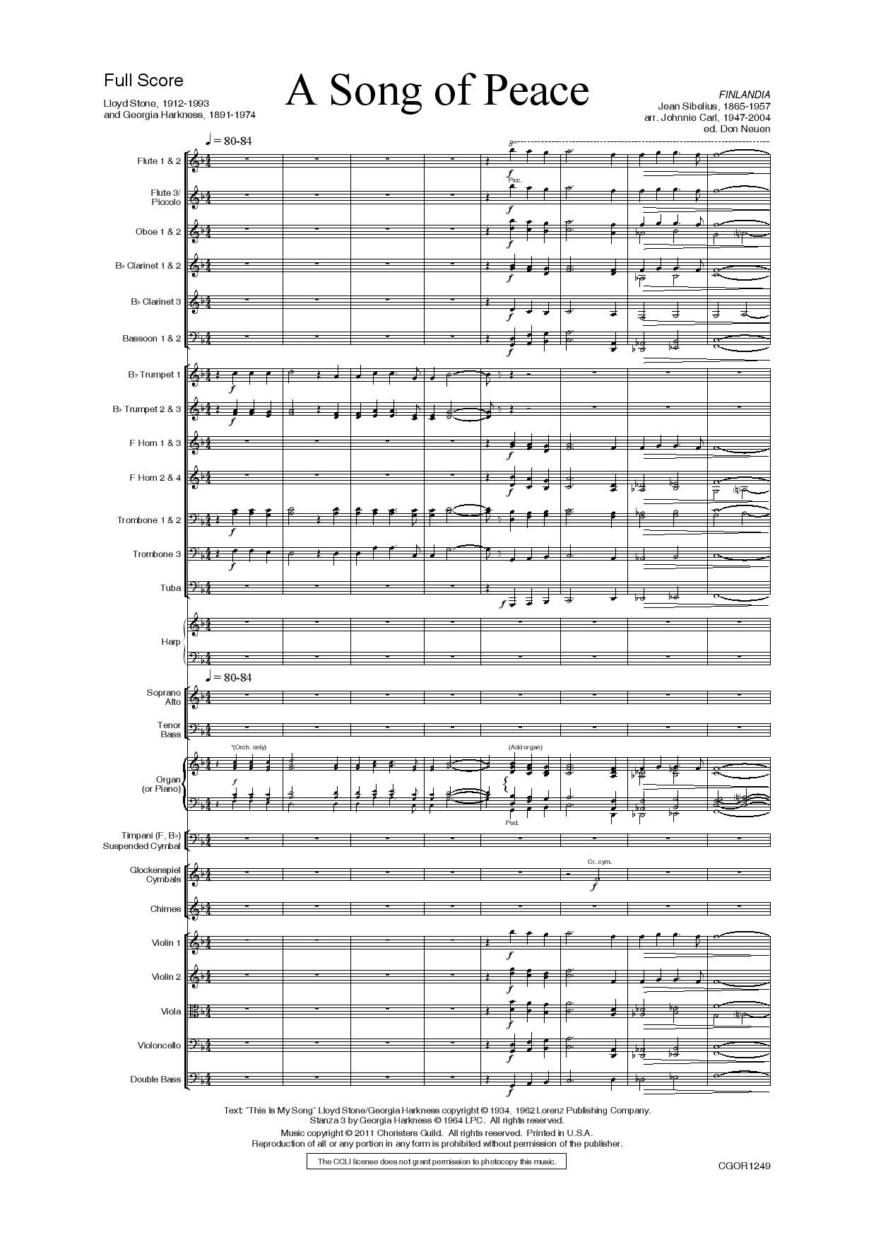 A Song of Peace Full Orchestra Score and Parts