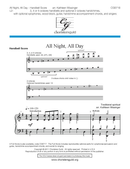 All Night, All Day - Handbell Score
