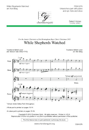 While Shepherds Watched Accompaniment Track